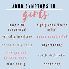 Adhd In Girls, Adhd Kids, Mental And Emotional Health, Mental Health Awareness, Adhd Facts, Asd, Aspergers, Adhd Quotes, Adhd Help