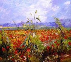 A Field with Poppies, Vincent Van Gogh (called green ears of wheat below w/ much different colors)
