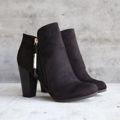 almond toe stacked heel vegan suede booties - black