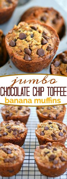 When life gives you ripe bananas – make muffins! These Jumbo Chocolate Chip Toffee Banana Muffins are incredibly moist and just loaded with flavor! Chocolate and banana goes together so well in these delicious muffins! // Mom On Timeout
