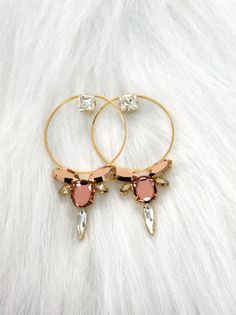 Bridal Hoop Earrings Blush Pink Statement Earrings Big by iloniti