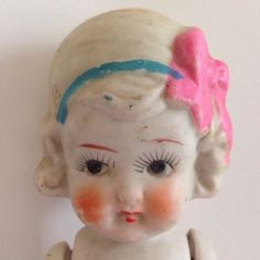 Vintage Bisque Girl Doll Japan Jointed Arms Dog Leash Pink Bow Eyelashes