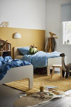 Ikea Inspiration, Ikea Kids, Yellow Dining Chairs, Mustard Walls, Tranquil Bedroom, Ikea New, Blue Cabinets, Kids Bedroom, Scandinavian Furniture