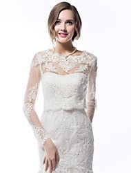Wedding  Wraps Coats/Jackets Long Sleeve Lace Ivory Wedding Scoop Lace Sleeves Appliques Lace-up No – USD $ 39.99