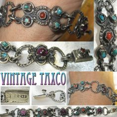 Vintage & Antique Jewelry Frederick Davis Mexican Sterling Link Bracelet W/ Small Round Turquoise Stones