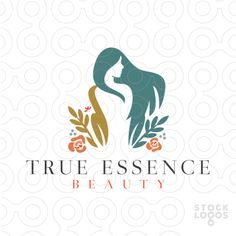 Logo for sale: A beautiful woman emerges from a beautiful botanical garden. This logo plays of the idea of the garden of eden by incorporating eve in this natural design. Bight pinks greens and blues give the logo a tropical botanical feel.