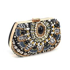 Fashion Crystal Women Evening Bag With Stone Beaded Clutch Bag For Elegant Ladies Banquet Handbag Black Classic Party Purse X52