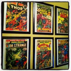 Decorating with comic books and dollar store frames would be a great idea for Guys that are kids at heart!