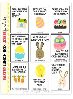 Easter+Lunch+Box+Jokes+for+Kids Give your kids a big laugh at lunch time by putting Easter Lunch Box Jokes in their lunch! These free printable jokes for kids are fun for kids of all ages! Easter Lunch, Hoppy Easter, Easter Party, Easter Eggs, Easter Gift, Easter Riddles, Easter Jokes, Easter Worksheets, Easter Scavenger Hunt