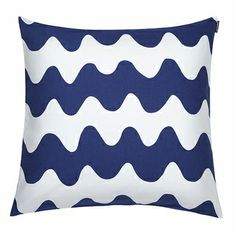 Infuse your home with calming prints with this Pikku Lokki cushion cover from Marimekko. Crafted from lightweight upholstery cotton, this cover has an eye-catching wave design and a cushion pad is . Marimekko, Scatter Cushions, Decorative Cushions, Navy Pillows, Bed Pillows, Pillow Shams, Pillow Covers, Elephant Cushion, Living Room Cushions