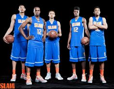 2012 SLAM HS All-Americans - saiah Austin (who will be attending Baylor next season), SLAM diarist Shabazz Muhammad (UCLA), Kyle Anderson (also UCLA), Nerlens Noel (Kentucky) and Jabari Parker (who will be a senior at Simeon Academy in Chicago)