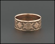 A lovely cigar style band from the late Victorian period (circa 1870-1900). This ring is unmarked, but acid tests for 10k rose gold. The band is in excellent condition with minimal wear. It is currently a size 5.75, but most of our rings can be re-sized free of charge. Please contact us if you are interested in our re-sizing services.  We have many other fantastic offerings of antique and conversion jewelry posted on our Etsy store, so please consider browsing our other items. We send all…