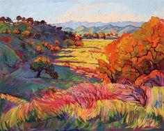 Bold emotive color in landscape oil paintings, by Erin Hanson