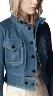 Burberry London Blue / Green Leather Jacket