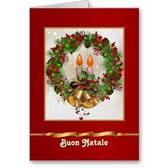 24 best italian christmas cards greetings images on pinterest holly pine wreath candles italian christmas card italian christmas christmas greeting cards personalized m4hsunfo
