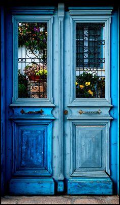 Blue Doors Fine Art Print Showcasing the Beauty of The Mediterrean by SaltedPrint