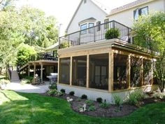 screen porches | Screen Porch with 2nd Level Deck - Porches Photo Gallery - Archadeck ...