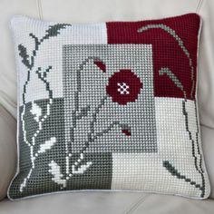 'Mosaic Poppy' Cross Stitch Cushion Kit by Twilleys of Stamford. Cross Stitch Cushion, Cross Stitch Rose, Modern Cross Stitch, Cross Stitch Kits, Cross Stitch Designs, Cross Stitch Embroidery, Cross Stitch Patterns, Cushion Embroidery, Moon Pillow