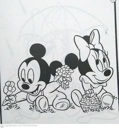 Baby Mickey, Minnie Mouse, Disney Characters, Fictional Characters, Projects To Try, Snoopy, Crochet, Flowers, Cartoons