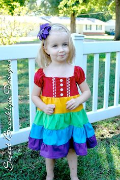 Rainbow Dress with Puffed Sleeves. Wouldn't this be so cute for a Rainbow themed party? $55.00