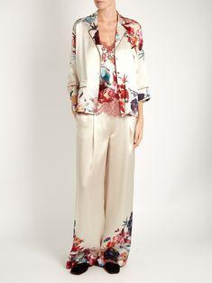 Wonderland-print silk-satin pyjama top | CARINE GILSON