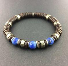 Coconut Shell, Pyrite, Matte Lapis Lazuli, Fine Silver Rings, Men's/Unisex Bracelet by carolannbosek on Etsy