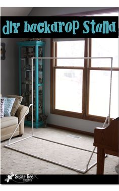 if you need to hang a backdrop for something or for pictures, check out how to make this easy stand using  simple PVC pipe