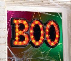 Lighted Halloween Boo Sign