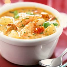 This impressive seafood stew is cooked in just one pot & really easy-to-assemble. Head to Tesco Real Food for more one-pot recipes & seafood recipes. Seafood Soup Recipes, Seafood Stew, Fish And Seafood, Shrimp Stew, Foie Gras, Shrimp And Vegetables, I Want Food, Tesco Real Food, Vegetable Stew