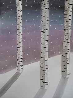 Birch Trees in Winter watercolors...with masking tape that has been stuck to something like blue jeans first (to make it not so sticky)