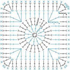 Crochet Squares, Crochet Motifs, Crochet Blocks, Granny Square Crochet Pattern, Crochet Stitches Patterns, Crochet Diagram, Crochet Chart, Crochet Granny, Crochet Doilies