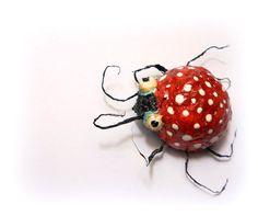 Stressed ladybug-paper mache pinrecycled jewelryeco by cukipokshop