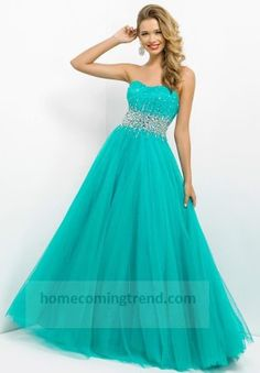 Beaded Pine Ball Gown Prom Dresses 2014