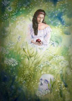 Persephone Watercolour on Paper Persephone, Skulls, Watercolour, Portrait, Paper, Painting, Art, Pen And Wash, Art Background