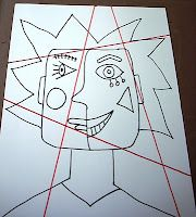 cubism like picasso portrait. Try coloring in warm/cool or color families Picasso Cubism, Pablo Picasso, Picasso Portraits, 2nd Grade Art, Art Worksheets, Ecole Art, School Art Projects, Art Lesson Plans, Art Classroom