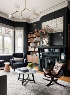 Elegant Modern Living Room Design and Decor Ideas Decor Interior Design, Interior Decorating, Interior Paint, Interior Ideas, Decorating Ideas, Living Room Designs, Living Room Decor, Beautiful Room Designs, The Dark Side
