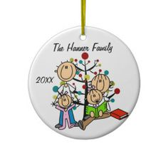 Stick Figures Couple With Two Girls Custom Holiday Keepsake Personalized Ornament