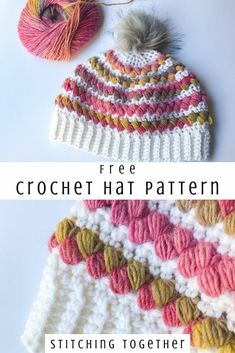 A gorgeous crochet hat for a woman with colorful puff stitches. Stay warm this winter with this beau Puff Stitch Crochet, Crochet Bee, Crochet Woman, Free Crochet, Crochet Hats, Crochet Stitches Free, Knitting Hats, Yarn Bee, Crochet Slippers