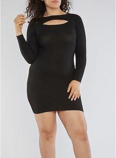 Plus Size Rib Knit Keyhole Sweater Dress,BLACK