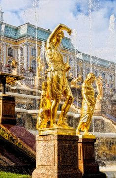 Peterhof Palace, St. Petersburg, Russia, created by Russian Emperor Peter The Great in 1714-1725. This was Peter's Summer Palace that he would use on his way coming and going from Europe through the harbor at Kronshtadt, close to St. Petersburg, Russia