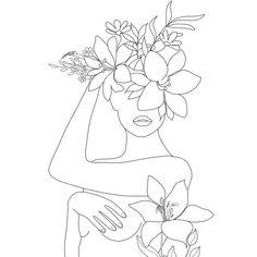Minimal Line Art Woman with Flowers VI Mini Art Print by Nadja - Without Stand -. Minimal Line Art Minimalist Drawing, Minimalist Art, Cool Art Drawings, Art Drawings Sketches, Art Minimaliste, Outline Art, Abstract Line Art, Line Drawing, Doodle Art