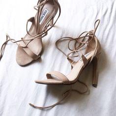 nude suede sandals #stevemadden