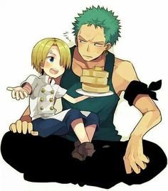 Zoro, Sanji, young, childhood, cute, pancakes, food, text; One Piece