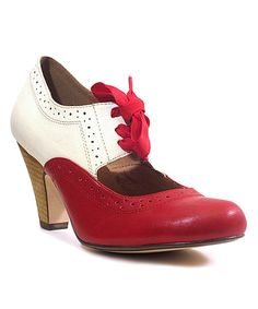 Look at this Chelsea Crew Red & White Sylvia Pump on #zulily today!