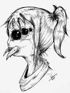 Spidergirl by Weline Deem - zeichnen - Art Scary Drawings, Trippy Drawings, Dark Art Drawings, Art Drawings Sketches, Creepy Sketches, Arte Horror, Horror Art, Horror Drawing, Arte Obscura