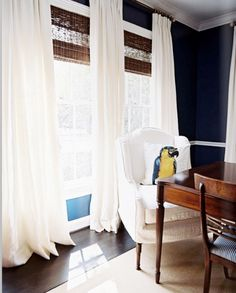 drapes and bamboo blinds -- love the combo from Lonny Apr/My 2010 - designer Ashley Putman's house - foto Patrick Cline ~~
