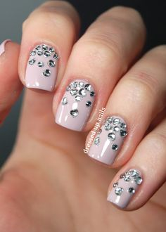 Dressed Up Nails - heart rhinestone gradient nail art