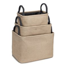 Burlap Storage Bin (Set of 3)-Blank - Occasionally Made - Classic Gifts with a Trendy Twist!