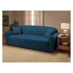Madison Industries Solid Jersey Sofa Cover Cobalt Blue - JER-SO-CB-H