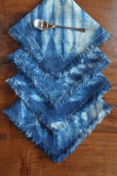 Linen indigo dyed napkins,Frayed edge napkins,4 16x16 inch,Hand dyed shibori napkins,Hand sewn napkins,Napkins or placemats,Dinner napkins by FireandIceTextile on Etsy
